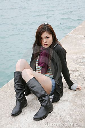 asian girl wearing boots royalty  stock image image