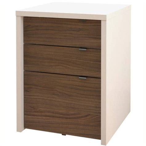 3 Drawer File Cabinet White Nexera Liber T 3 Drawer White Walnut Filing Cabinet Ebay