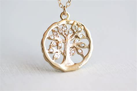 Tree Friendly Pendant Necklace by Family Tree Necklace Gold Oak Tree Pendant With
