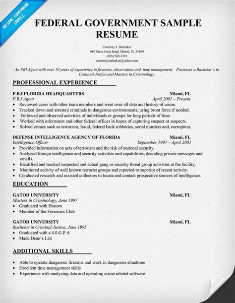 Government Resume creating headers for federal resume format 2016 best