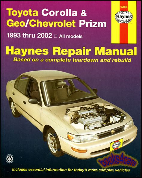 free auto repair manual for a 1993 toyota paseo toyota corolla repair manual service manual online shop manual service repair book haynes toyota corolla geo prizm chevy ebay