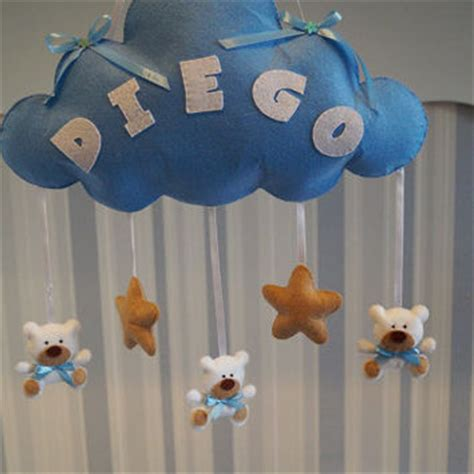 Handmade Baby Room Decorations - baby mobile clouds name felt custom baby name boy