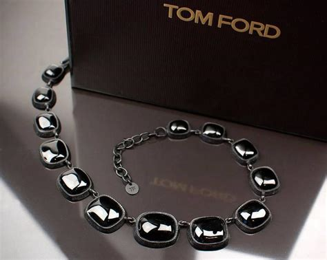 tom ford black pate de verre earrings and necklace set at