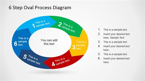 step diagrams 6 step oval process diagram template for powerpoint