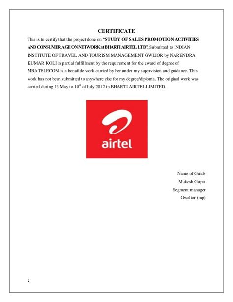 Airtel Credit Transfer Format A Project Report On Airtel