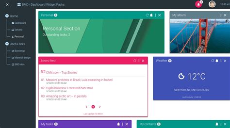 layout supported by bootstrap bootstrap material design dashboard widgets pack by