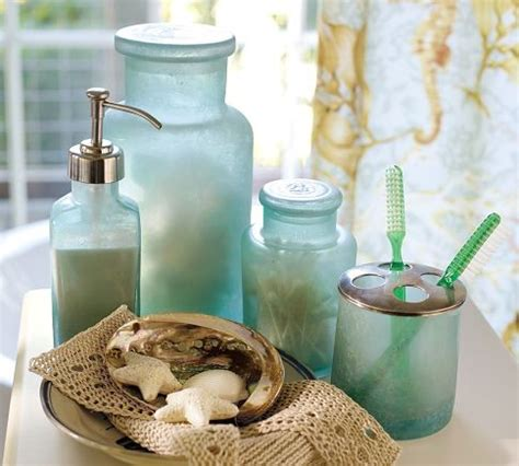 Sea Glass Bathroom Accessories Blue Glass Bath Accessories Tropical Bathroom Accessories By Pottery Barn