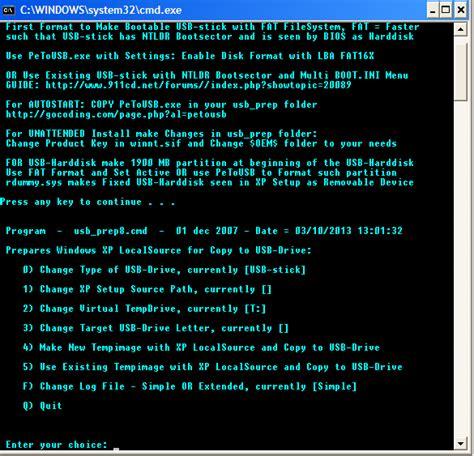 membuat bootable usb windows xp dengan cmd membuat usb bootable untuk install windows xp menggunakan