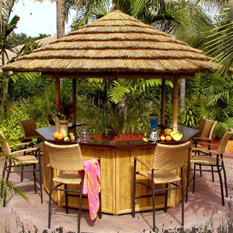 tiki bars thatch umbrellas tiki torches outdoor
