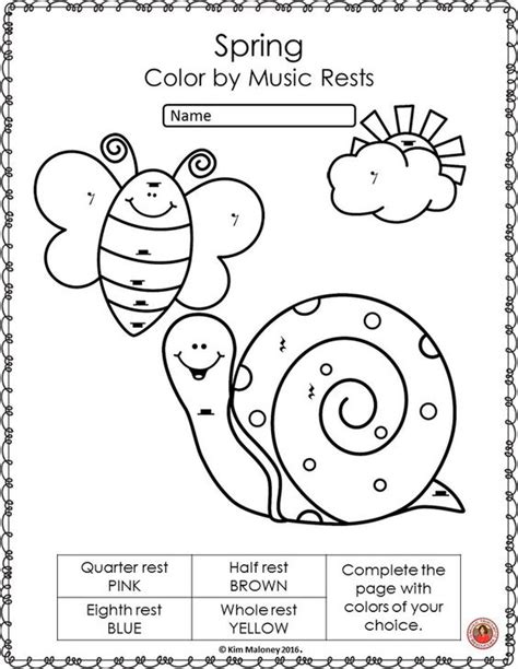 spring music activities color by music symbol music