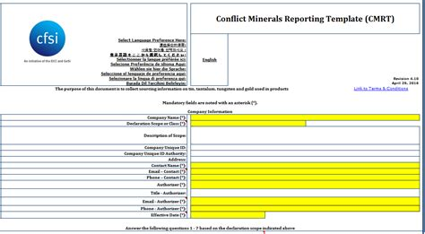 Conflict Free Minerals Reporting Template Flex Conflict Minerals