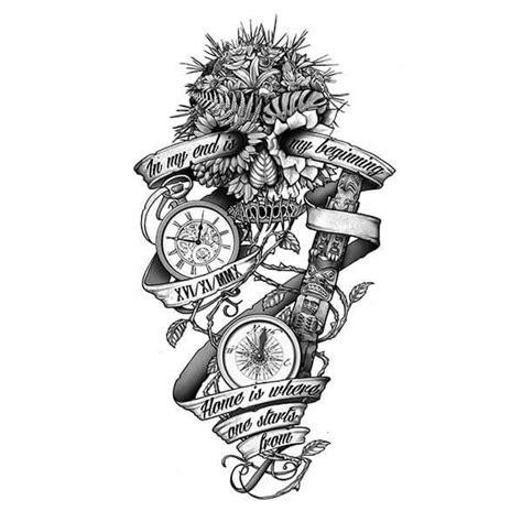 custom tattoo printer skull and compass tattoo designs tattoos pinterest
