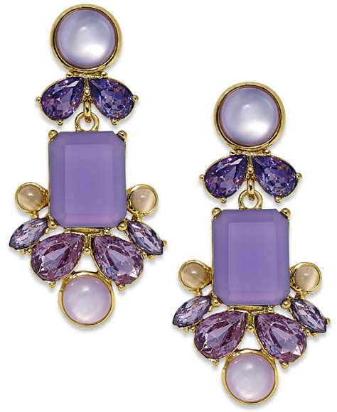 Kate Spade New York Gold Tone Purple Stone Chandelier Kate Spade Chandelier Earrings