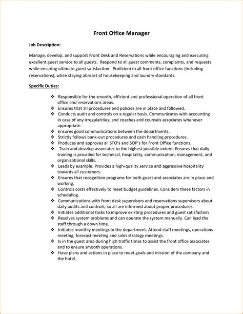 Front Desk Manager Responsibilities by 8 Front Desk Description Invoice Template
