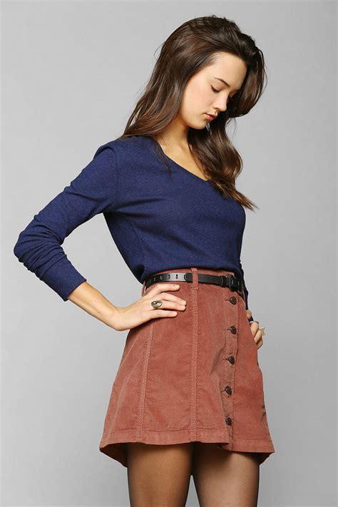 Button Front A Line Skirt corduroy button front a line skirt redskirtz