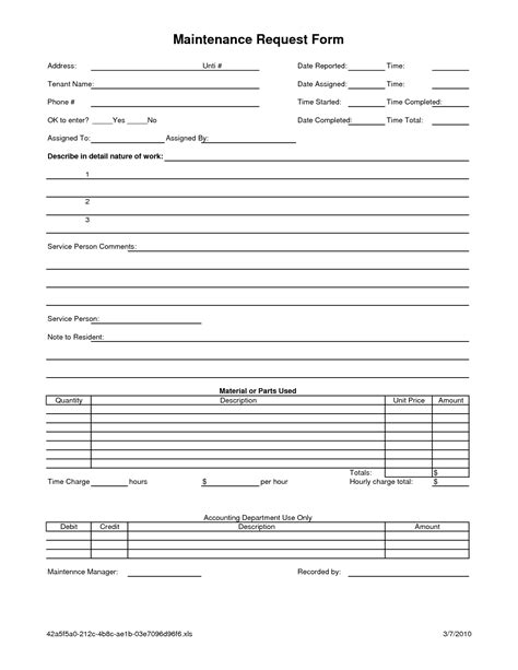 work order maintenance request form template best photos of request form template excel excel
