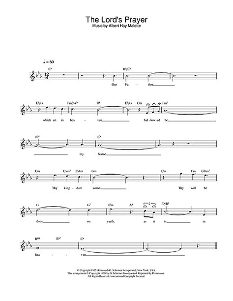 The Lord's Prayer chords by Charlotte Church (Melody Line