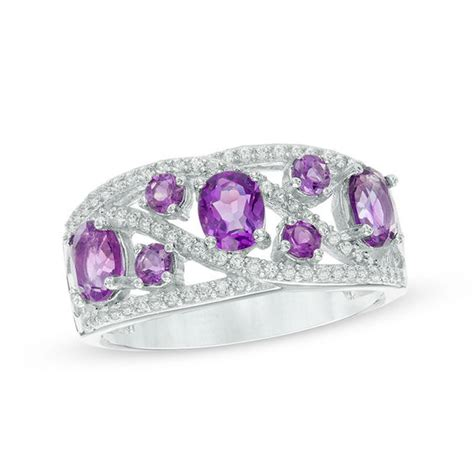 oval amethyst and lab created white sapphire ring in