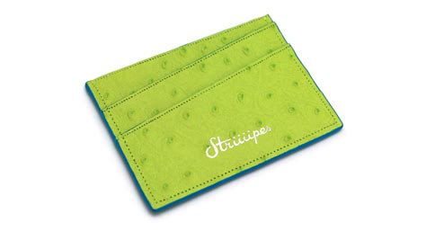 The Cardholder bright green ostrich cardholder striiiipes