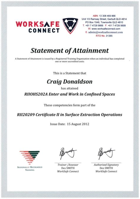 C D Confined Space Certificate Confined Space Certificate Template