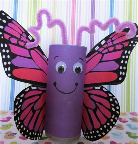 Butterfly Paper Craft - 60 animal themed toilet paper roll crafts hative