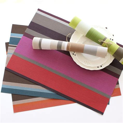Plastic Table Mat by Simple Rectangular Table Mat Placemat Color Stripe Plastic