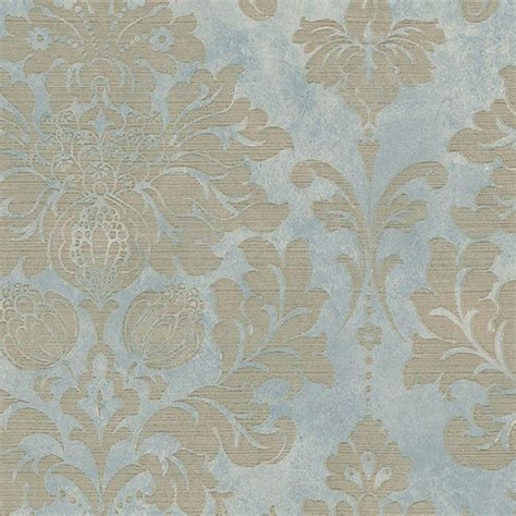 Distressed Home Decor by Large Damask Gold On Turquoise Md29418 Wallpaper