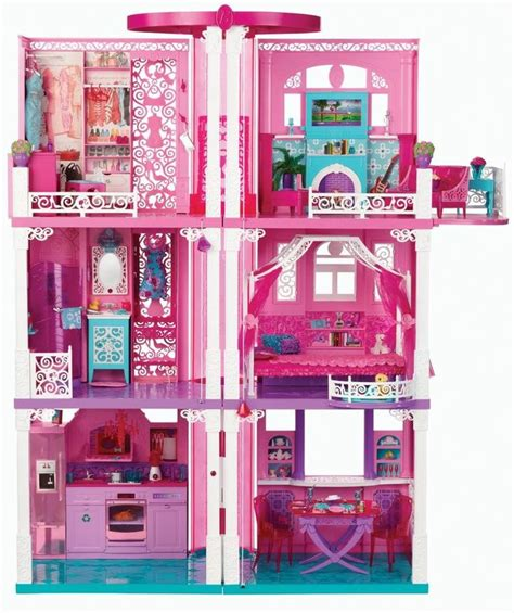 Barbie 3 Story Dream Townhouse Furniture Accessories Toy Doll House Girls Play Mattel
