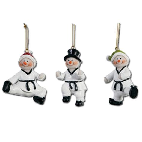 taekwondo snowmen ornament set taekwondo ornaments taekwondo ornament