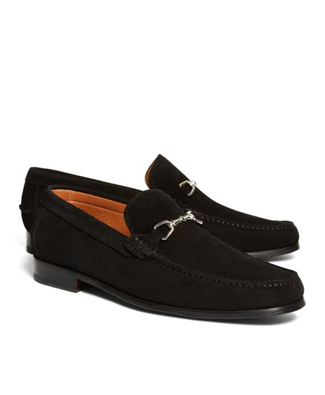 mens loafers with buckle brothers suede buckle loafers in black for lyst