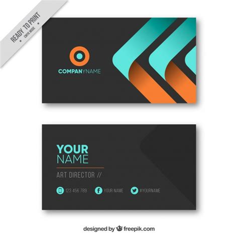 free orang and blue bussiness card templates black business card with blue and orange elements vector