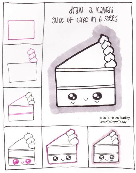 Drawing Kawaii by Draw A Kawaii Style Slice Of Cake In 6 Steps Learn To Draw