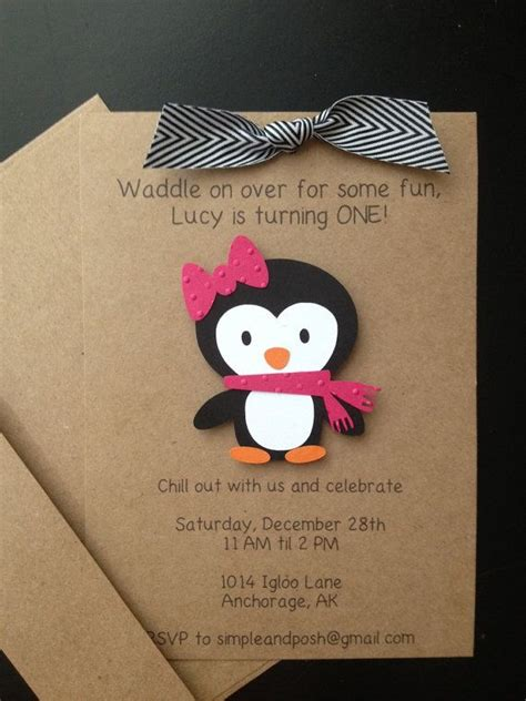 Custom Handmade Invitations - penguin handmade invitations custom made for birthday