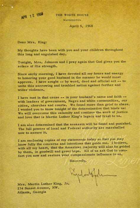 up letter to king after a dispute the letter lyndon johnson wrote to