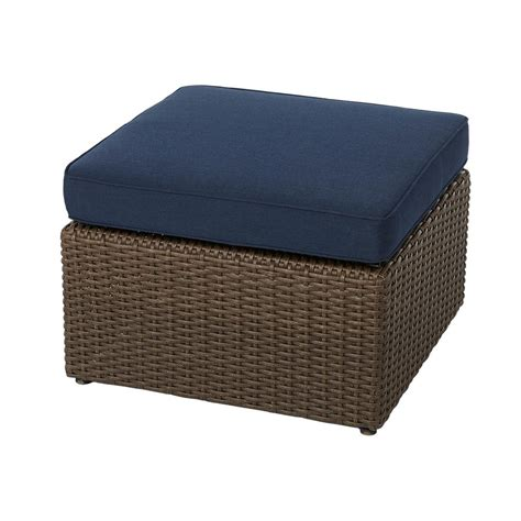ottoman with cushion hton bay maldives brown wicker outdoor ottoman with