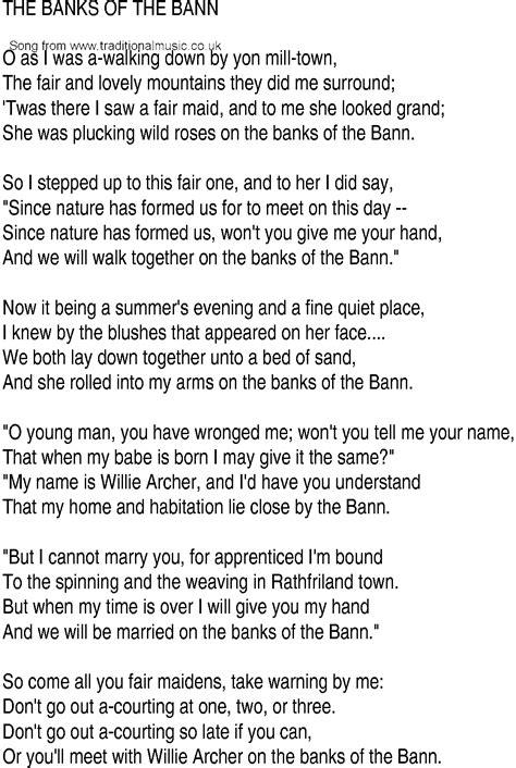 banks lyrics song and ballad lyrics for bank of the bann