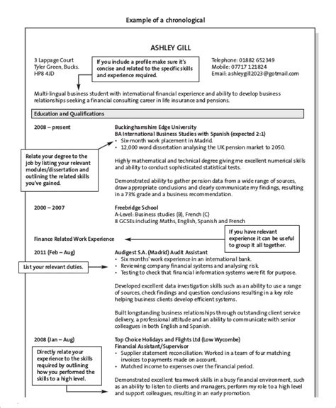 Resume Chronological Order by 10 Chronological Resume Templates Pdf Doc Free