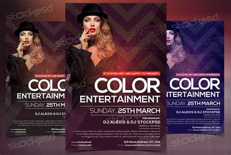 free download color entertainment flyer template photoshop