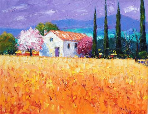 painting with cherry blossom and vines provence