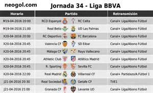 Calendario Liga Espanola Futbol Partidos Jornada 34 Liga Espa 241 Ola Bbva 2016 Neogol