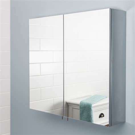 vasari stainless steel bathroom cabinet mirror doors