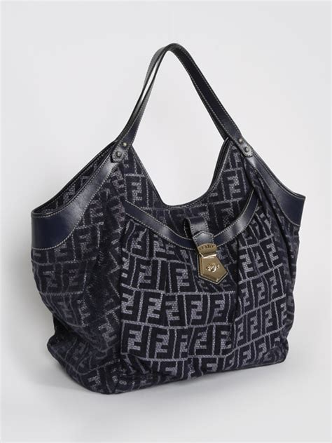 Fendi Large Quilted Chef Purse by Fendi Zucca Chef Large Tote Blue Luxury Bags