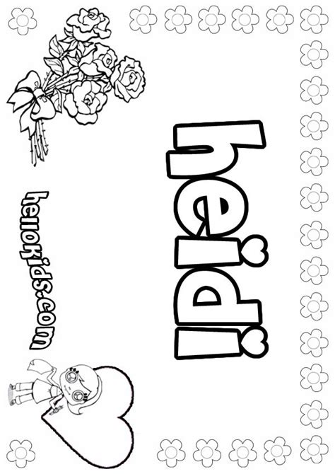 girls name coloring pages heidi girly name to color