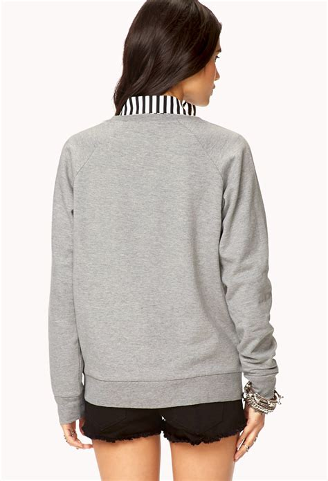 lyst forever 21 the beatle sweatshirt in gray