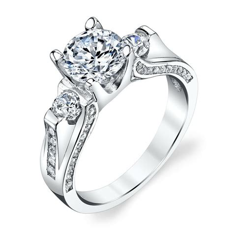 925 sterling silver 3 contemporary cubic zirconia engagement wedding ring ebay