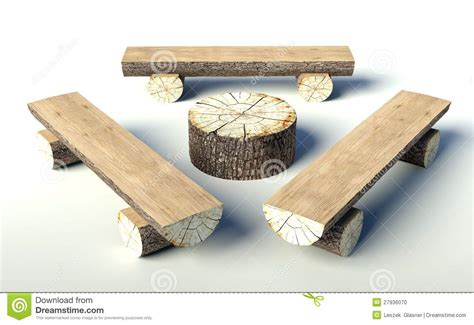 bench made out of tree trunk stock photo wooden bench and table made of tree trunks images frompo