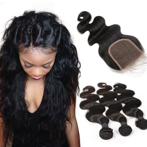 wiki closure hair extension brazilian virgin human hair extensions weave 3 bundles