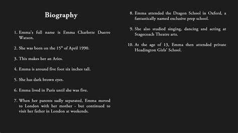 emma watson information facts about emma watson