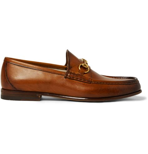 gucci loafers lyst gucci burnished leather horsebit loafers in brown