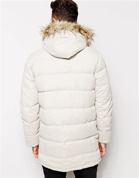 Asos Parka by Asos Quilted Parka Jacket In White For Lyst